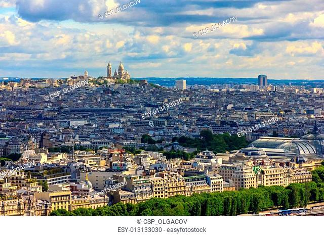View of Paris, the hill Montmartre and the Sacre Coeur Basilica and from Notre Dame cathedral