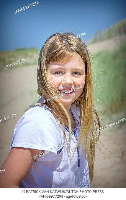 Princess Alexia of The Netherlands pose for the media at the start of their summer holidays at the beach of Wassenaar, The Netherlands, 10 July 2015