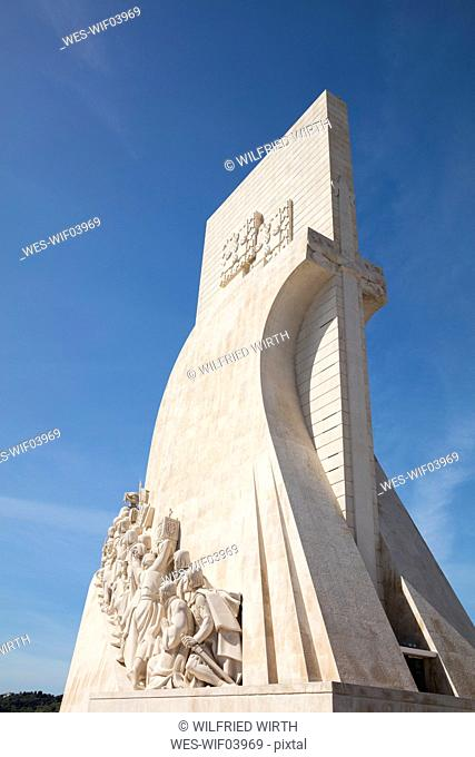 Low angle view of Monument to the Discoveries in Lisbon, Portugal