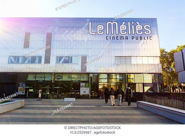 Montreuil, France, Paris Suburbs Urban Renewal Street Scenes. Le Méliès Cinema Building