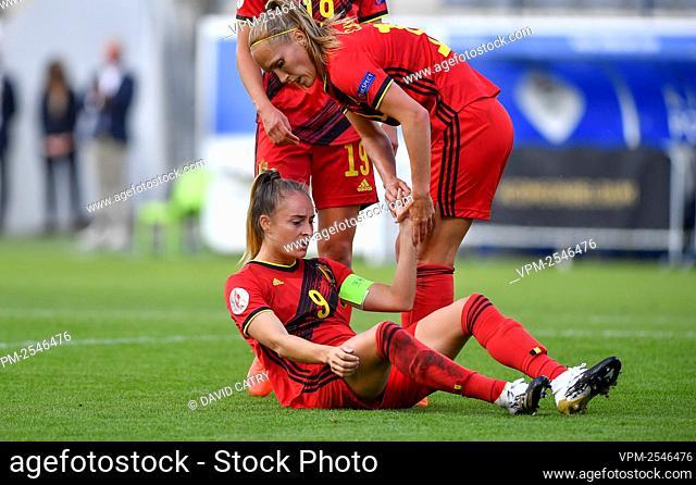 Belgium's Tessa Wullaert celebrates after scoring, with Belgium's Janice Cayman during a soccer game between Belgium's Red Flames and Romania
