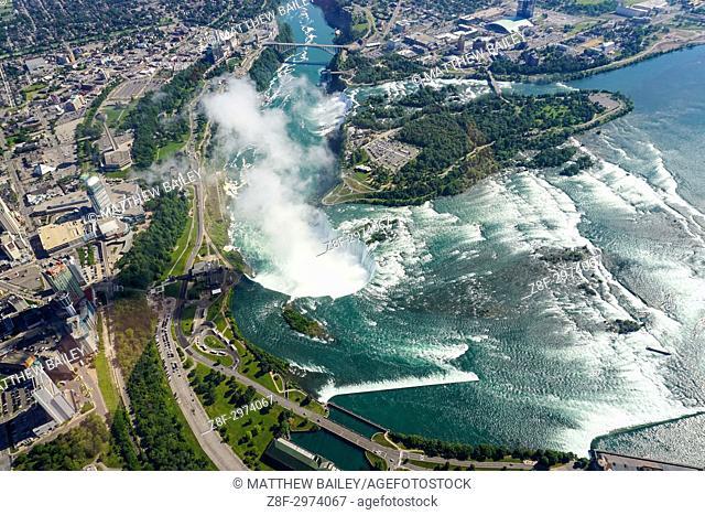An aerial view of Niagara Falls, Ontario, Canada