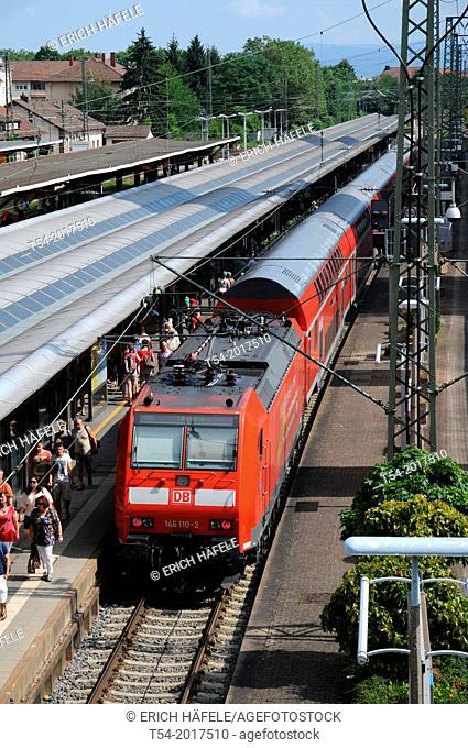 Regional train of German Bahn AG in the main station of Freiburg im Breisgau