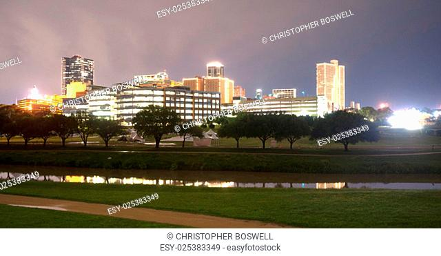 A storm is passing over downtown Fort Worth overnight