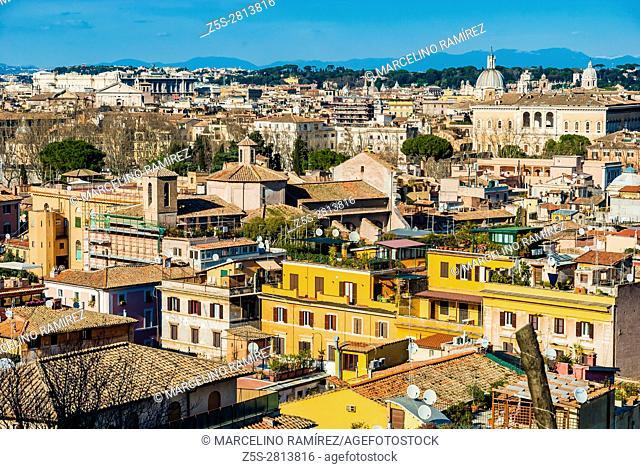Panoramica of Rome from the Piazzale Giuseppe Garibaldi. Rome, Lazio, Italy, Europe