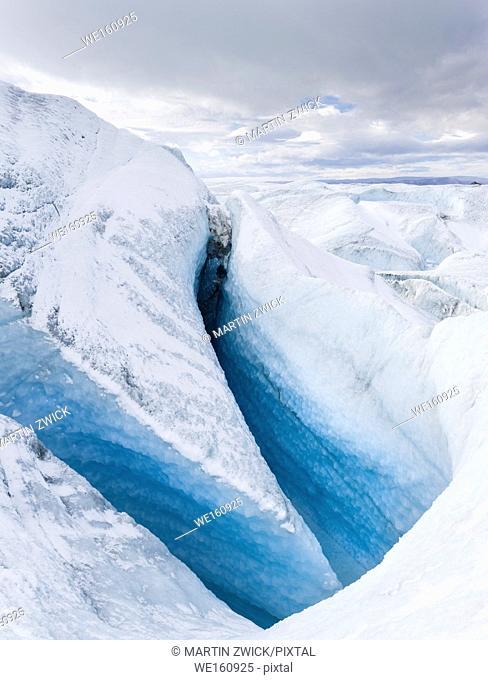 Landscape on the Greenland Ice Sheet near Kangerlussuaq. America, North America, Greenland, Denmark