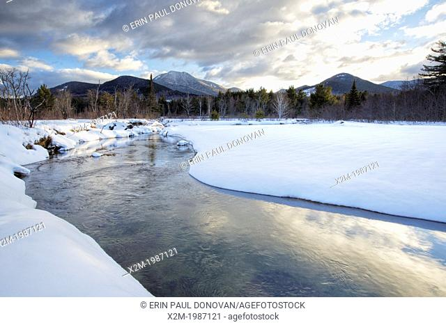 Swift River during the winter months in Albany, New Hampshire USA. This river travels along side of the Kancamagus Scenic Byway