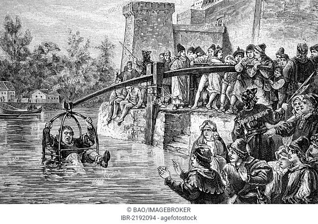 The punishment of immersion in the Middle Ages, used for fraudulent bakers, historical engraving, 1888