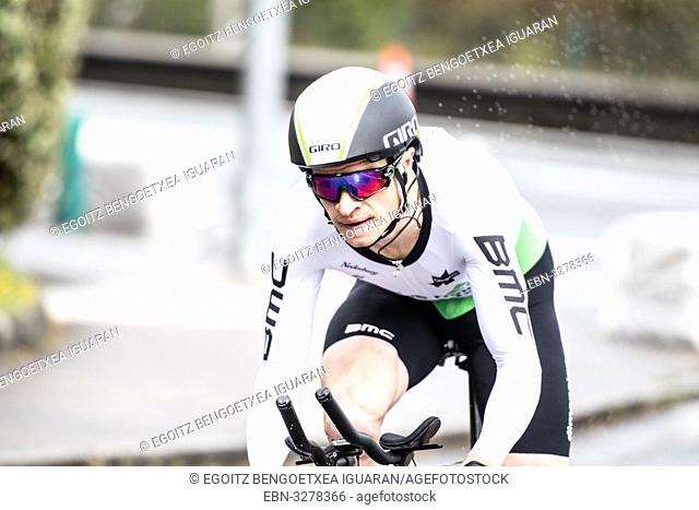 Benjamin King at Zumarraga, at the first stage of Itzulia, Basque Country Tour. Cycling Time Trial race