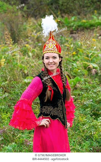 Young Kazakh woman, Kazakh ethnographic village aul Gunny, Talgar, Almaty, Kazakhstan