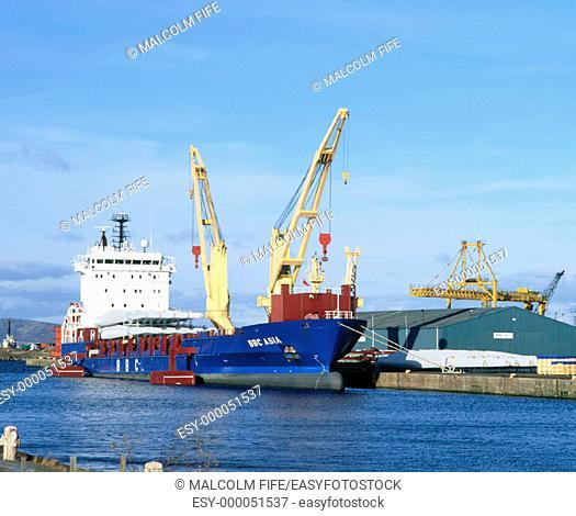 Cargo ship, Leith docks, Edinburgh. Scotland