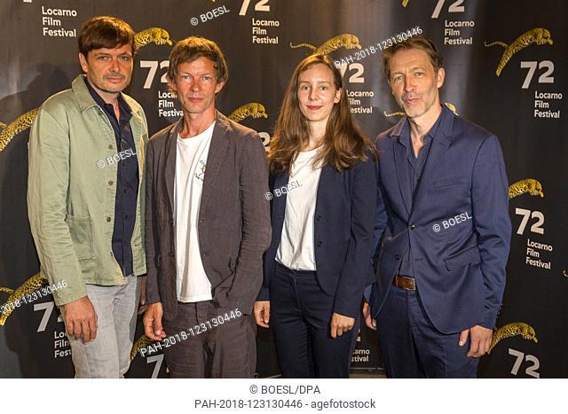 Ulrich Koehler (l-r), Sebastian Rudolph, Maj-Britt Klenke and Henner Winckler pose at the photocall of 'Das freiwillige Jahr' during the Film Festival in...