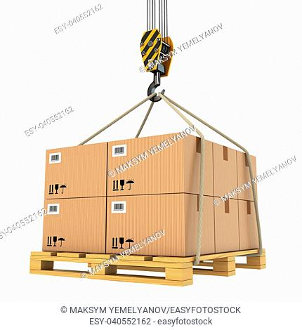 Cargo delivery. Pallet with cardboards lifted by crane. 3d