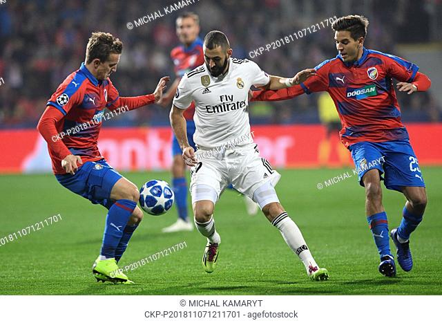 L-R JAN KOPIC (Plzen), KARIM BENZEMA (Madrid) and ALES CERMAK (Plzen) in action during the UEFA Champions League match, group stage, group G