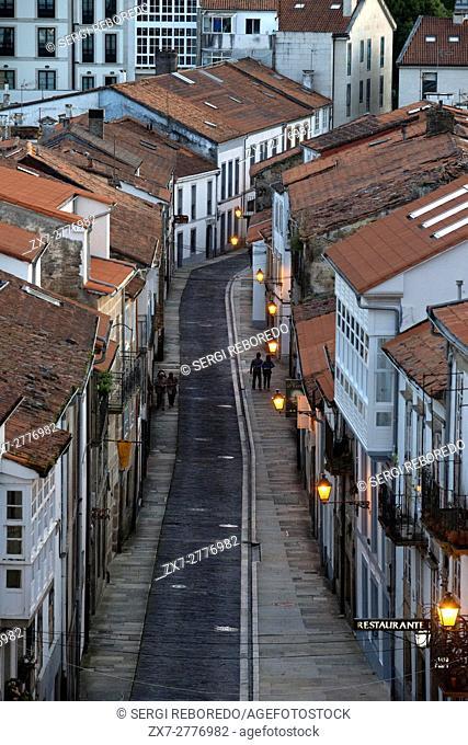 San Francisco street, Old Town, Santiago de Compostela, UNESCO World Heritage Site, Galicia, Spain. The last stop of the Transcantabrico Gran Lujo luxury train