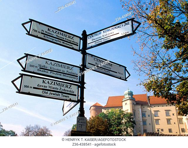 Castle Wawel in Krakow, Poland, city signs