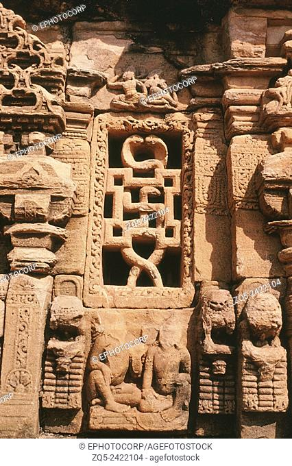 Pattadakal Papanatha temple, circa 735 AD. Swastika/ cobra window on South façade
