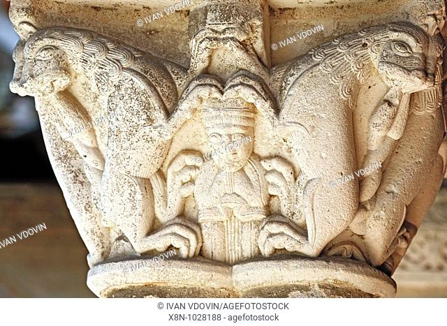 Bas-reliefa in cloister of the Saint-Pierre abbey 1100, Moissac, France