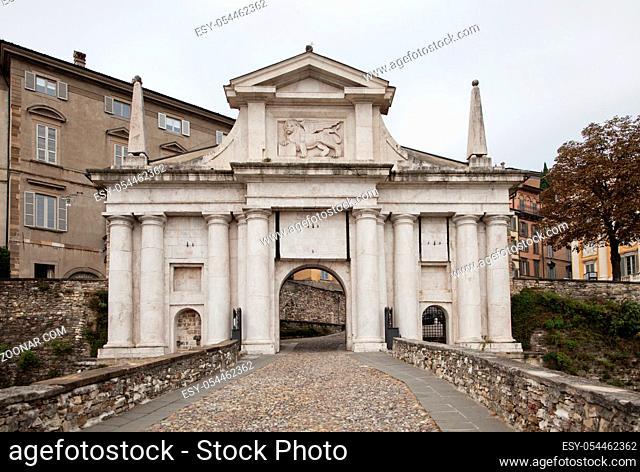 San Giacomo gate in Bergamo, Northern Italy
