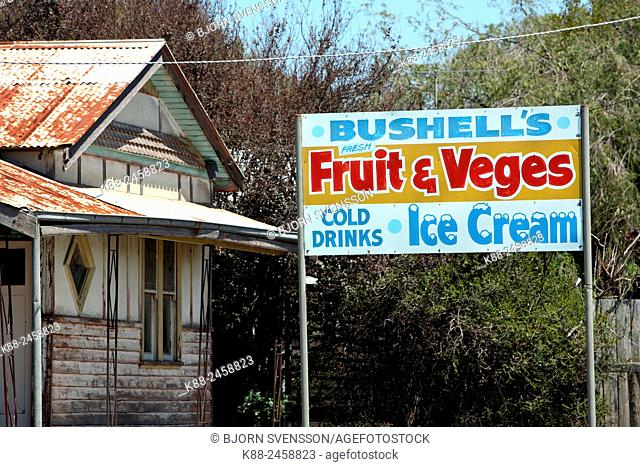 Shop sign in the Victorian countryside. Australia