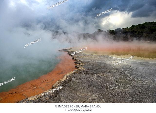Champagne Pool, hot spring, Waiotapu Geothermal Wonderland, Rotorua, North Island, New Zealand, Oceania