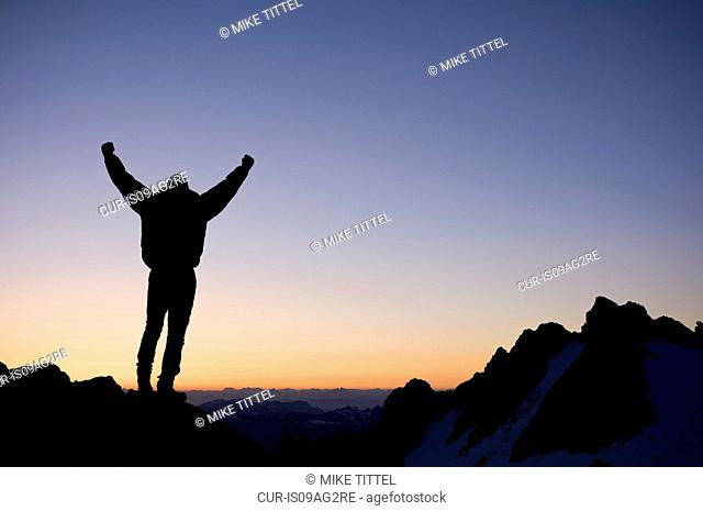 Man on top of the Sulfide Glacier on Mount Shuksan, North Cascades National Park, Washington, USA