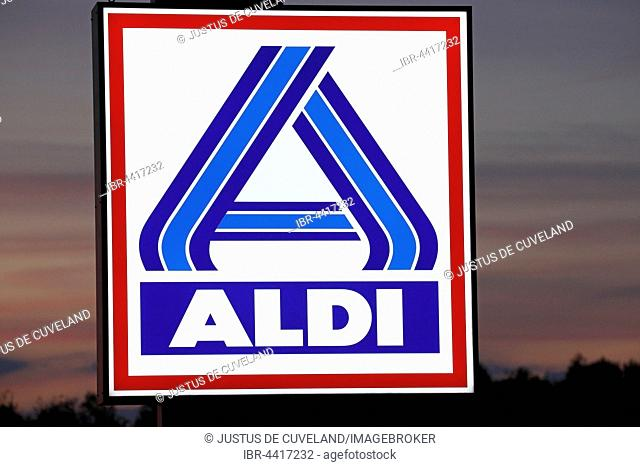 Illuminated company logo sign of the food discounter ALDI Nord, Germany