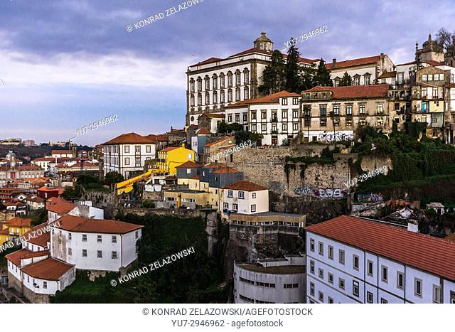View from Dom Luis I Bridge on the Old Town of Porto city on Iberian Peninsula, second largest city in Portugal