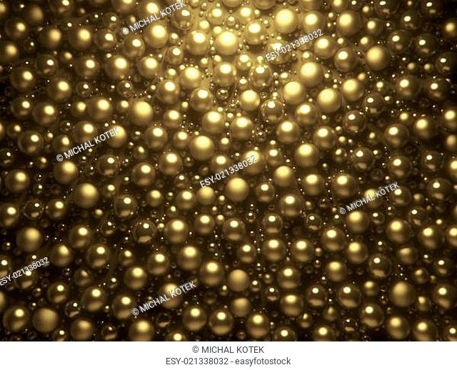 3D golden pearls background