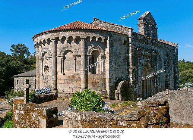 Romanesque church of San Pedro - 12th century, Dozon, Pontevedra province, Region of Galicia, Spain, Europe