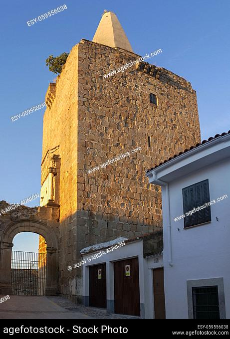Galisteo, beautiful walled town from Alagon Valley. 15th Palace-fortress. Extremadura, Spain