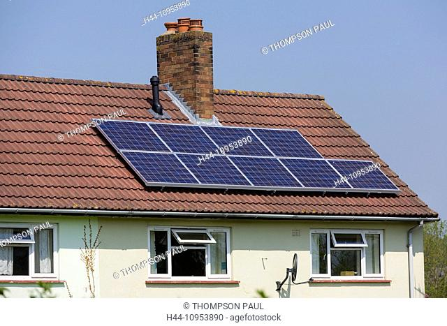 Solar panels, on council house roof