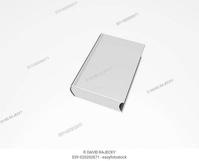 Lying blank hardcover book isolated on white background