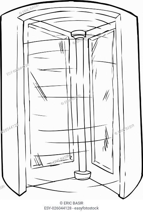 Outlined cartoon doorway with spinning revolving door