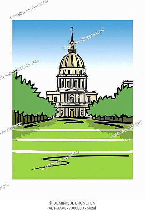 Illustration of the Dome of Les Invalides in Paris, France