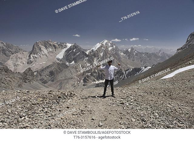 On top of the world, Chimtarga Pass, Fann Mountains, Tajikistan