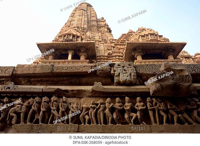 sculptures Lakshmana temple, Khajuraho, Madhya Pradesh, India, Asia