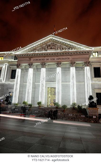 Night view of the Congress of Deputies Spanish: El Congreso de los Diputados in Madrid, Spain