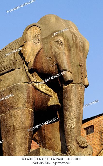 Elephant Stone Statue of Nyatapola Hindu Temple, Taumadhi Square, Bhaktapur, Bagmati Zone, Nepal