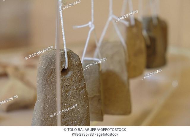 counterweights of a Roman vertical loom, Museu Municipal de Ciutadella. Bastió de sa Font, Ciutadella, Menorca, Balearic Islands, Spain