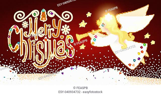 Merry Christmas Cute Background with Angel Playing the Trumpet, Christmas Candy Lettering, Snow and Lights