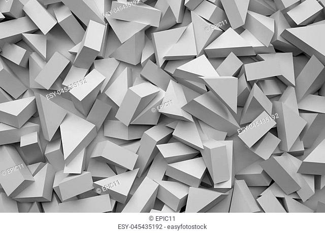 3D rendering abstract background. Illustration of gray geometric stones