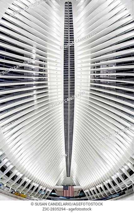 View To World Trade Center WTC - View the Freedom Tower from the skylight at the Oculus Transportation Hub at 4 World Trade Center in lower Manhattan