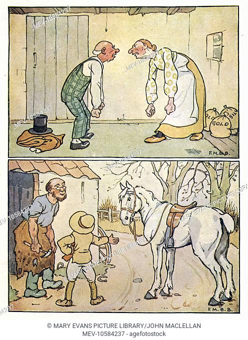 Nursery Rhymes -- two illustrations. Above -- an elderly couple argue in a bare room, with bags of gold and silver on the floor