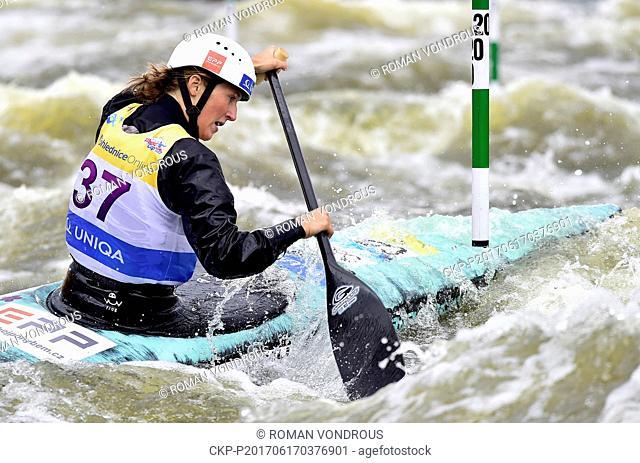 Eva Rihova of Czech Republic competes during the semifinal C1 women Water slalom World Cup event in Prague, Czech Republic, June 17, 2017