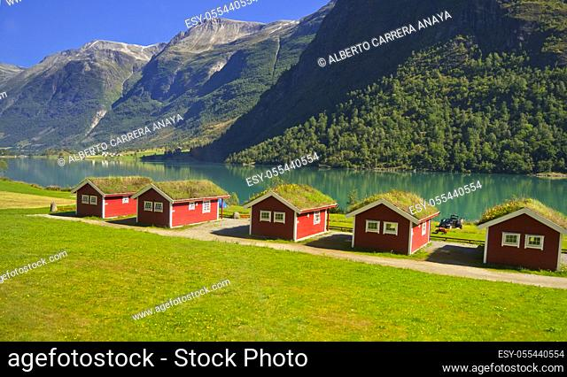 Oldevatnet Lake, Oldedalen Valley, Jostedalsbreen National Park, Norway, Scandinavia, Europe