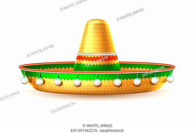 Sombrero realistic mexican hat. 3d cinco de mayo festival holiday celebration object. Spanish latin fiesta accessory, tradition headwear