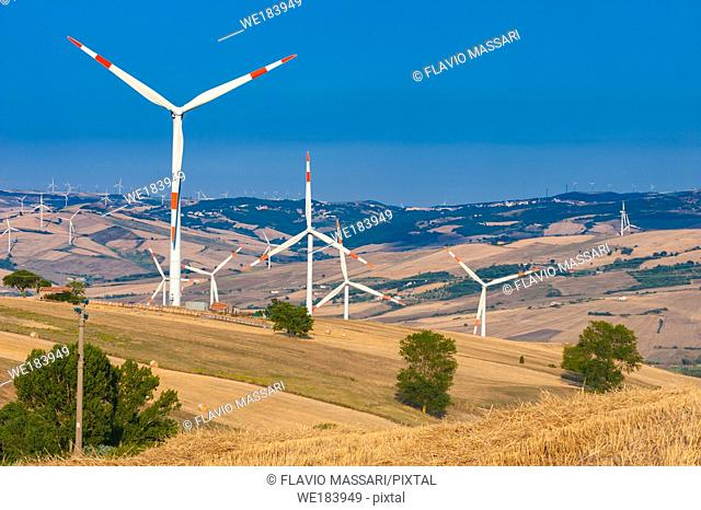 The Capitanata hills in north Apulia hosts a big number of wind generators