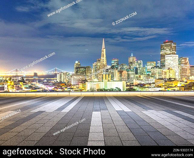 cityscape and skyline of san francisco on view from empty floor
