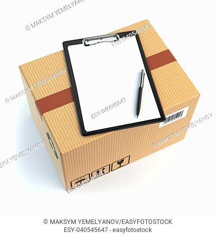 Delivery concept. Cardbox, pen and clipboard with receiving form isolated on white. 3d illustration